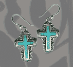 Turquise Mexican Cross Earrings