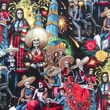 Born to Ride Skulls Spanish Fabric