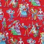 Folklore Skeletons Fabric