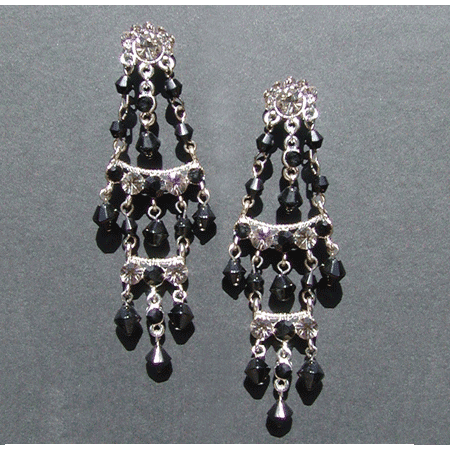 Mexican Black Style Chandelier Earrings