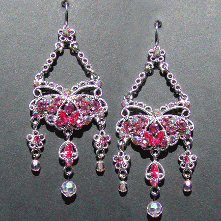 Crystal Butterfly Chandelier Earrings