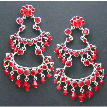 Red Crystal Latin Earrings