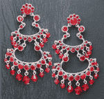 Red Crystal Latin Chandelier Earrings