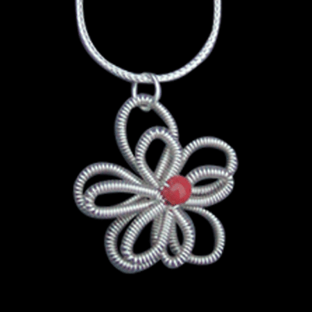 Sterling Silver Flower Coil Necklace
