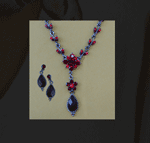 Ruby Red Crystal Tear Drop Necklace & Earrings