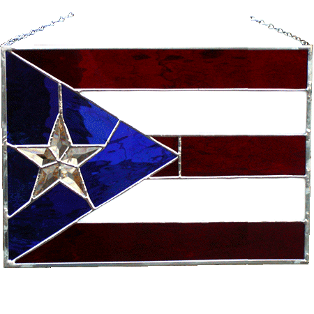 Puerto Rico Glass Flag
