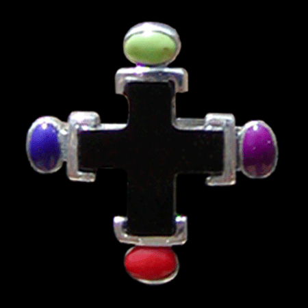 Cross Color Stone Ring